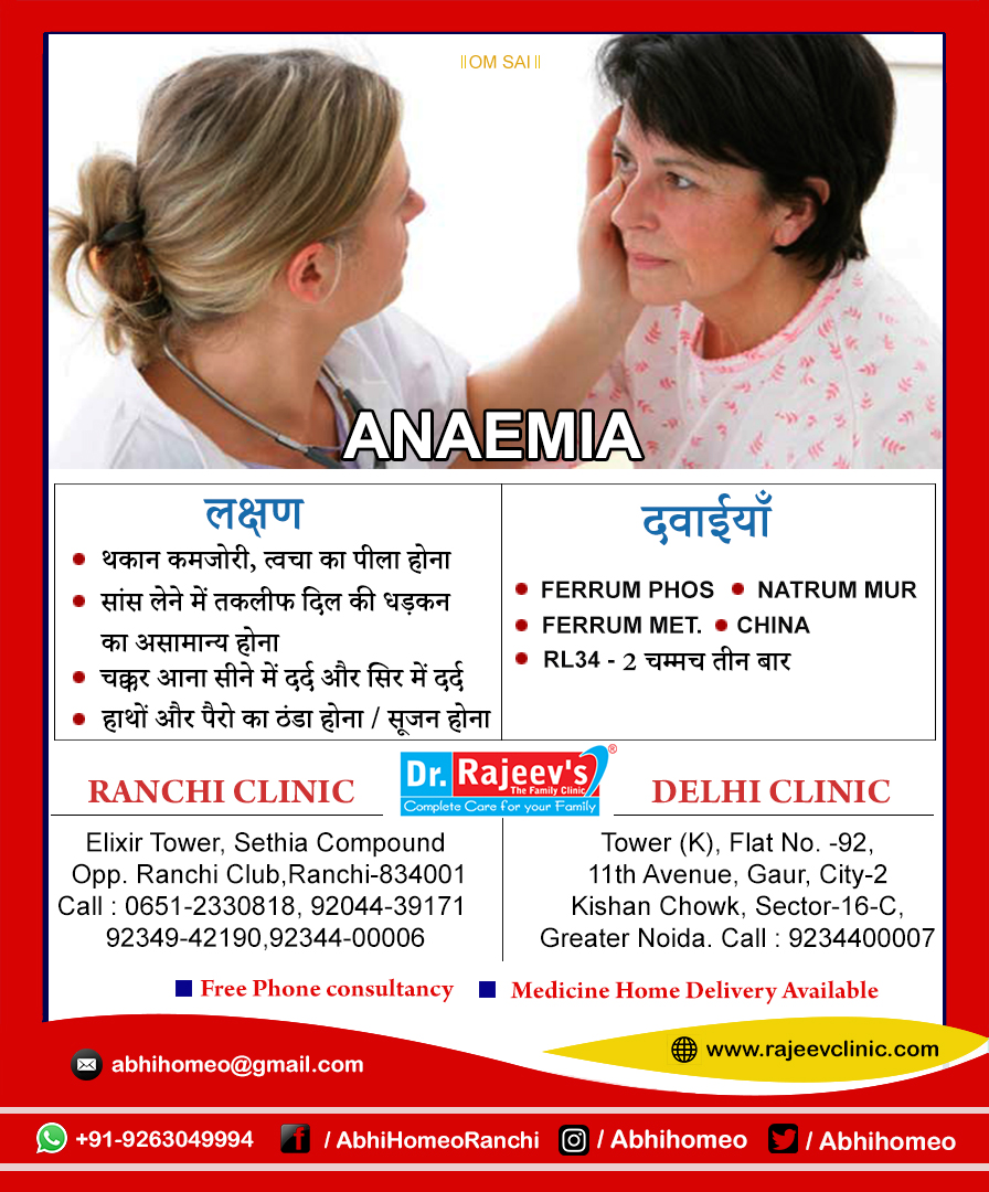 Homeopathy Treatment for Anemia in Ranchi/Delhi