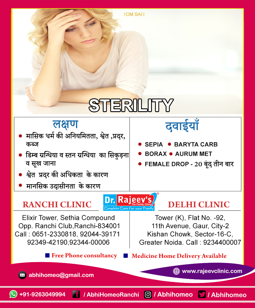 Homeopathy Treatment for sterility  in Ranchi/Delhi